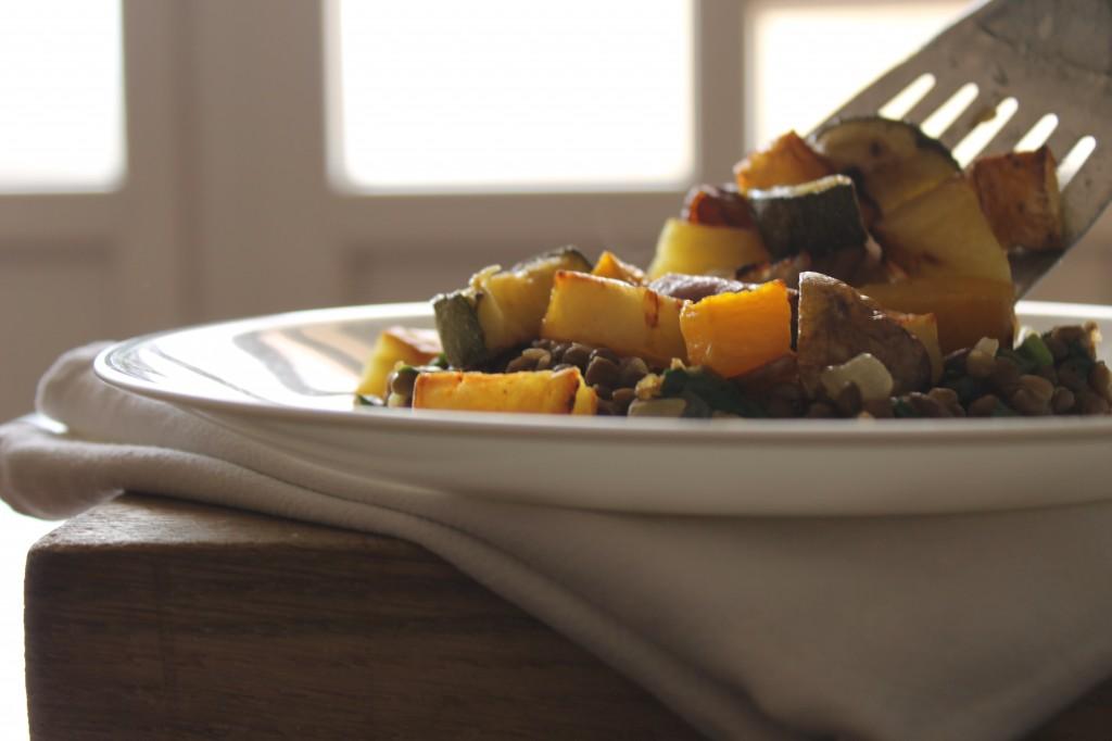 autumn vegetables with lentils