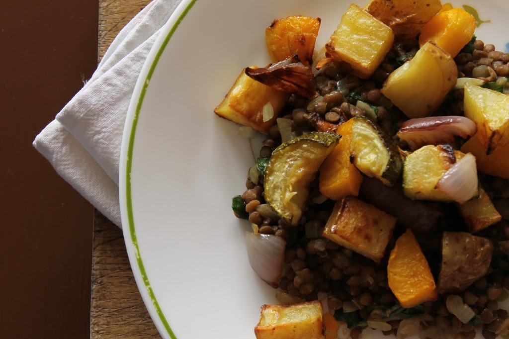 Roasted autumn veggies and lentils