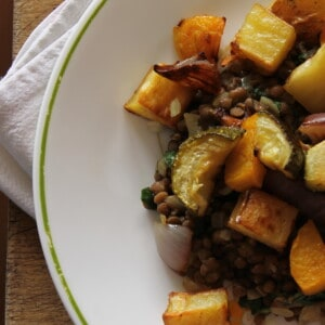 Roasted autumn veggies and lentils