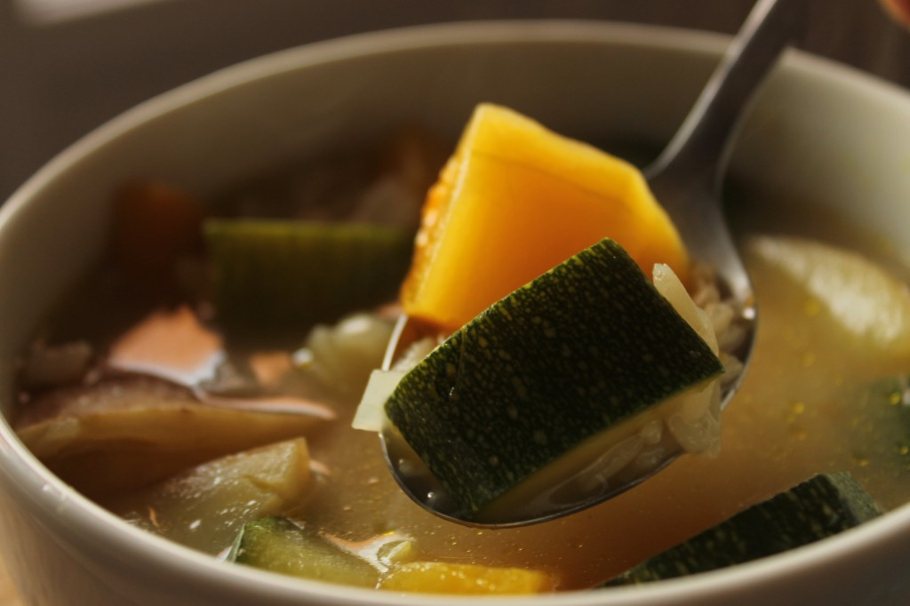 Fall vegetable + rice soup