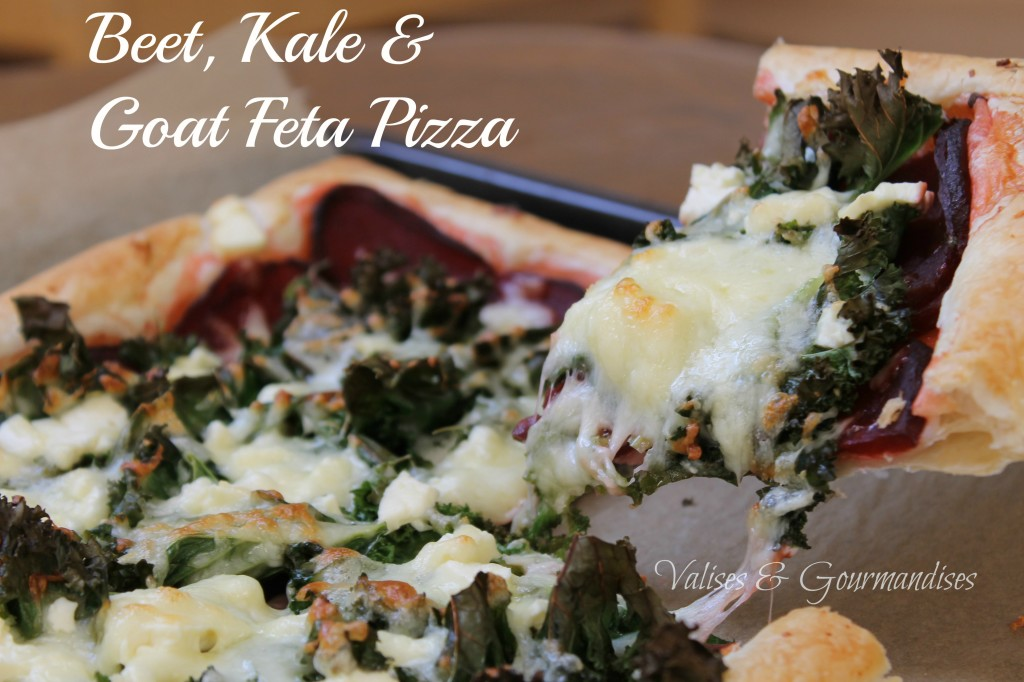 Beet, Kale & Goat Feta Pizza on a Puff Pastry - Ready in under 30 minutes - www.valisesetgourmandises.com