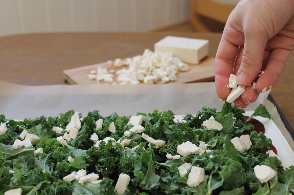 pizza Kale, betterave et feta