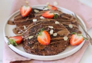 Vegan grain-free chocolate pancakes