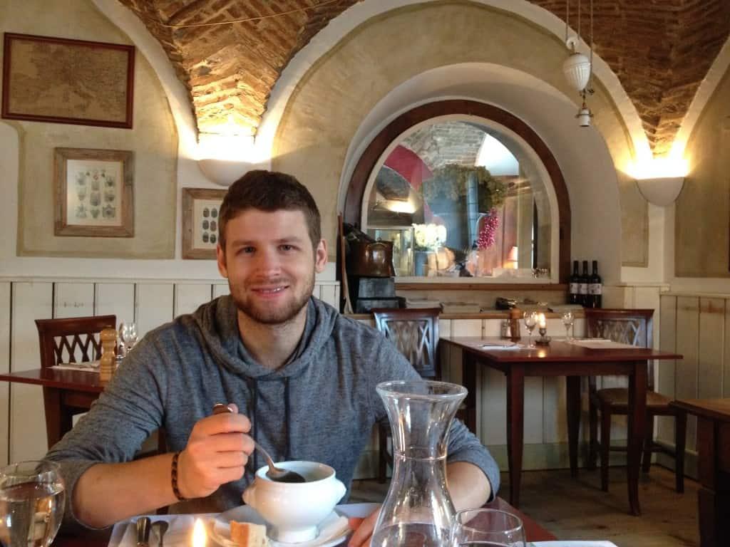 enjoying a good lunch at Pri Vitezu in Ljubljana