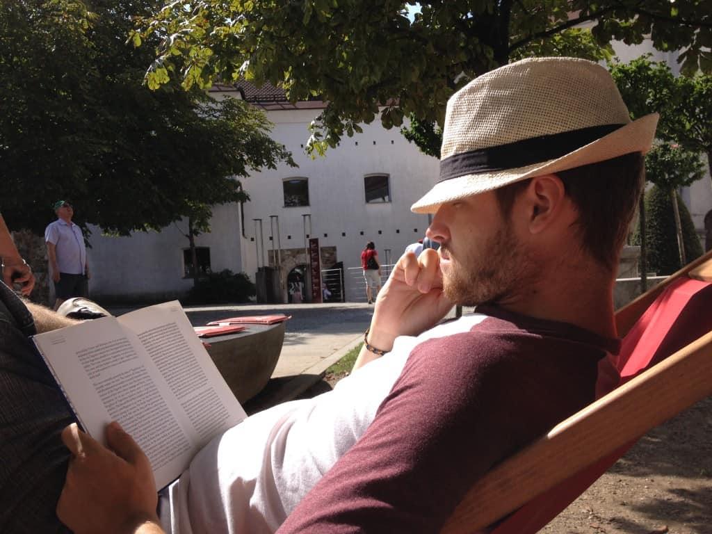 reading a good book at Ljubljana's castle