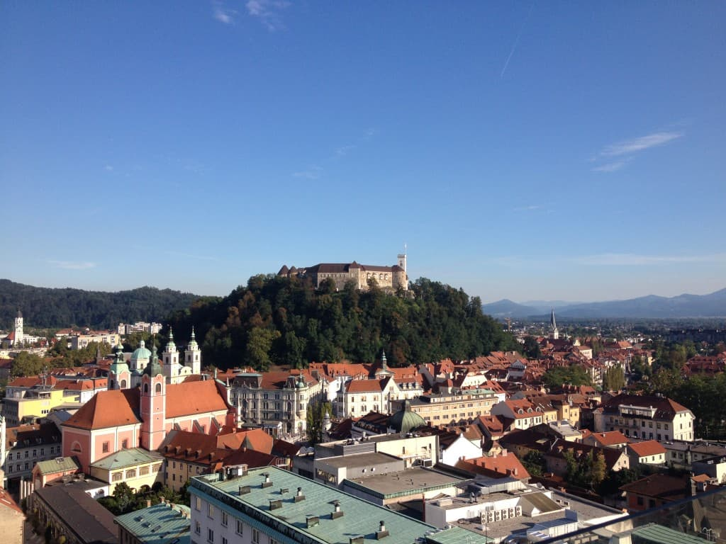 """Ljubljana's castle as seen from Nebotičnik """"skyscraper"""" restaurant"""