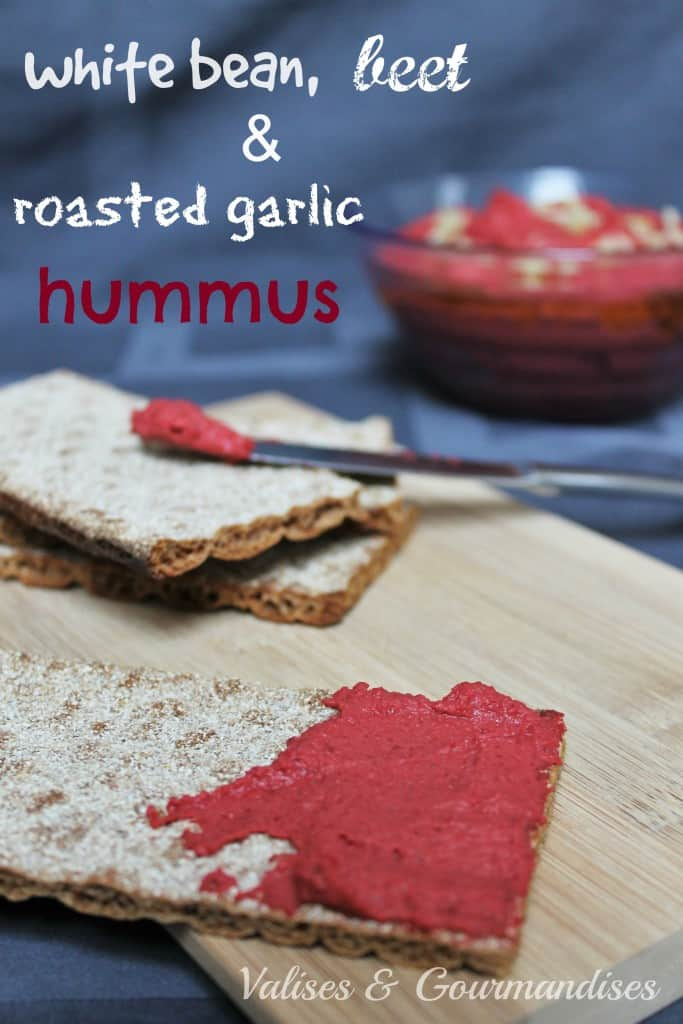 White bean, Beet & Roasted Garlic Hummus - www.valisesetgourmandises.com