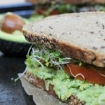 Mashed avocado and chickpea sandwich