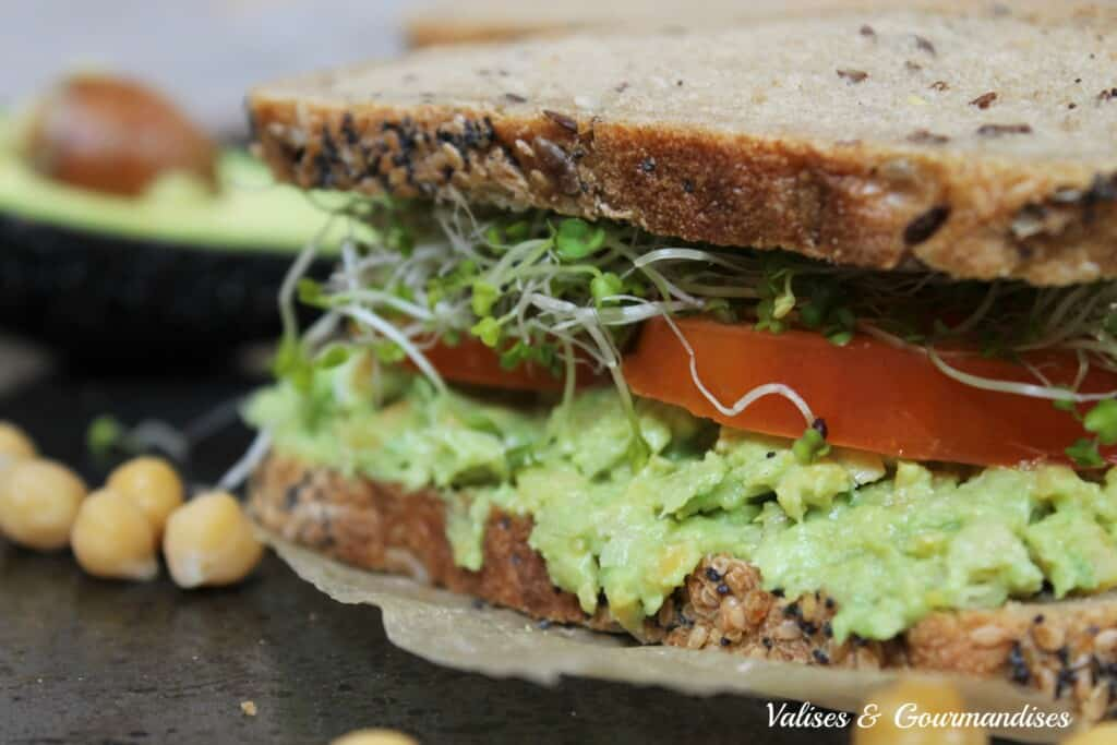 avocado and chickpea sandwich