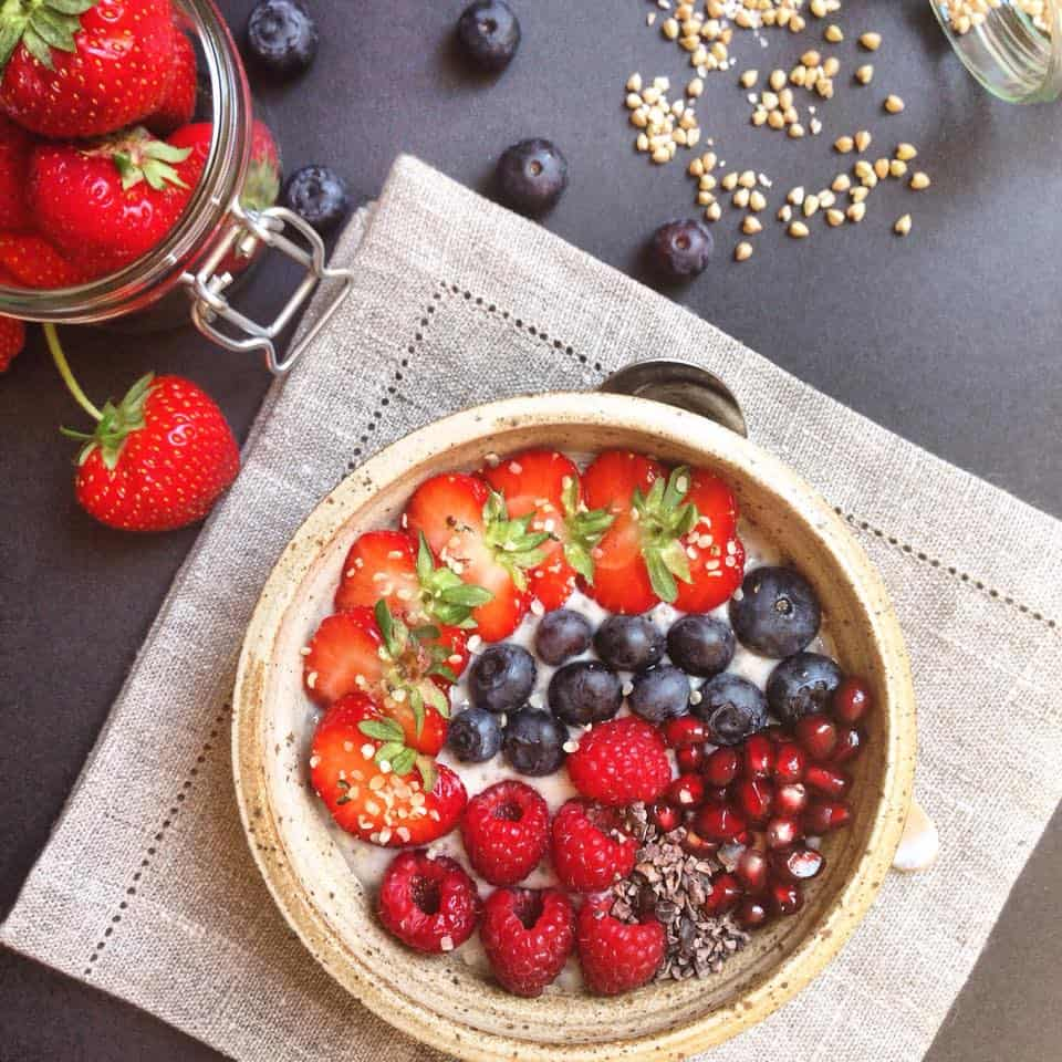 Chia pudding with fresh fruits, raw and vegan breakfast