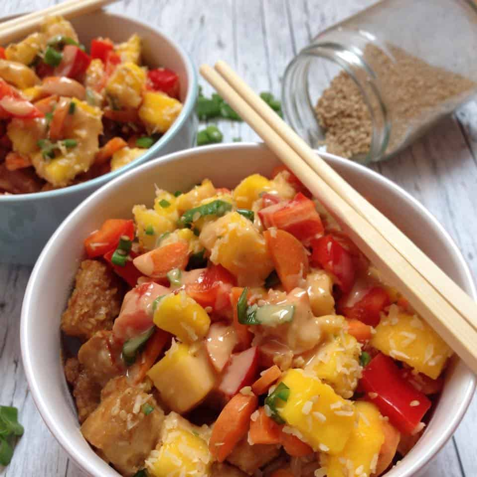 Mango salsa, crispy oven-baked tofu on brown rice drowned in pb sauce