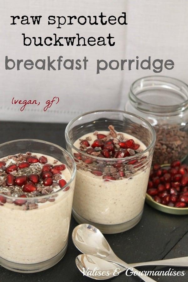 Raw sprouted buckwheat porridge