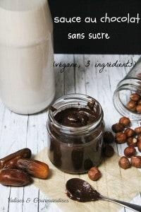 sauce au chocolat sans sucre - végane et seulement 3 ingrédients