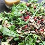 Warm lentil and pomegranate salad