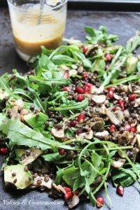 Salade de lentille tièdes à la grenade