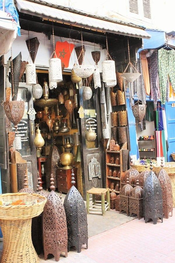 Boutique de lampes à Essaouira