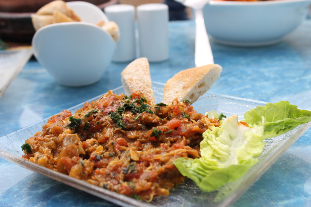 Zaalouk, a Moroccan eggplant and tomato salad