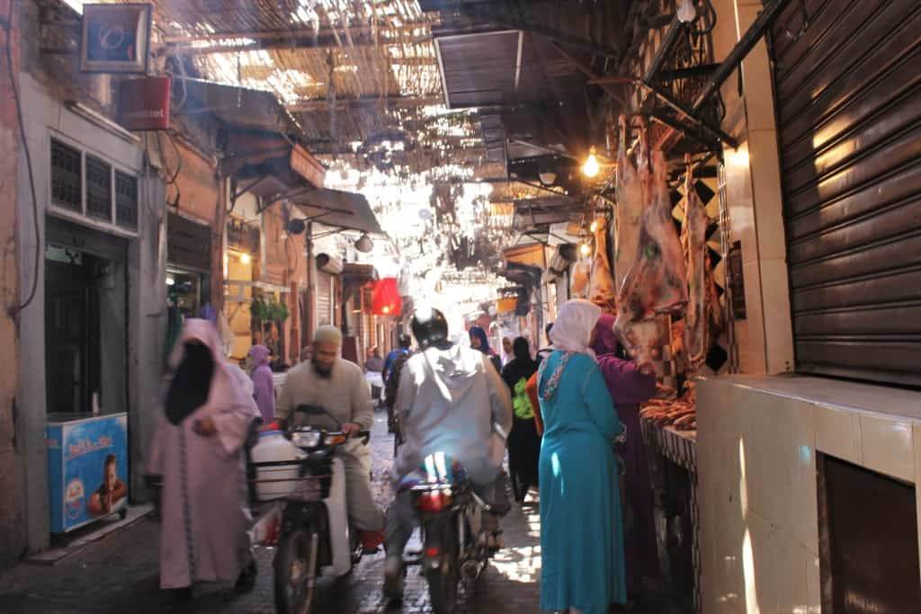 it's a bit blurred but it shows a typical day in a marrakesh street