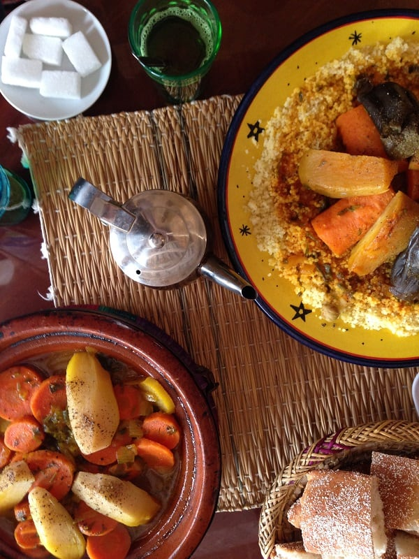 Traditional Moroccan tajine and couscous