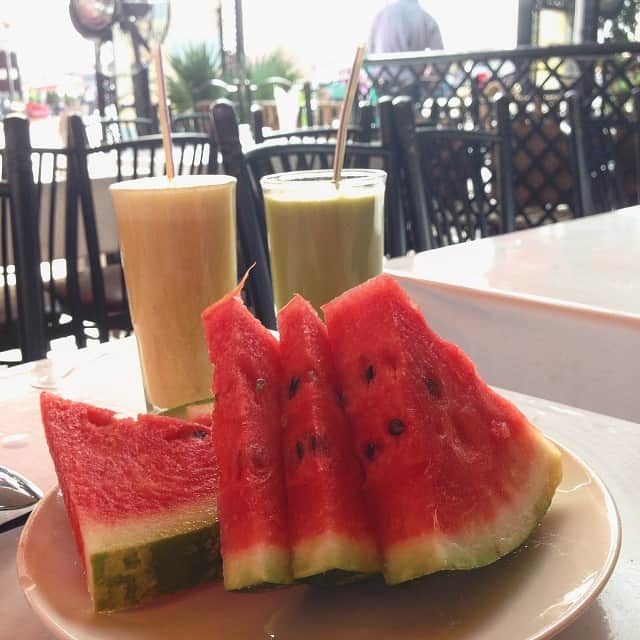 Fresh watermelon and juice in Marrakesh