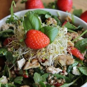 Salade de sarrasin aux fraises avec vinaigrette balsamique aux oignons doux et feta de tofu