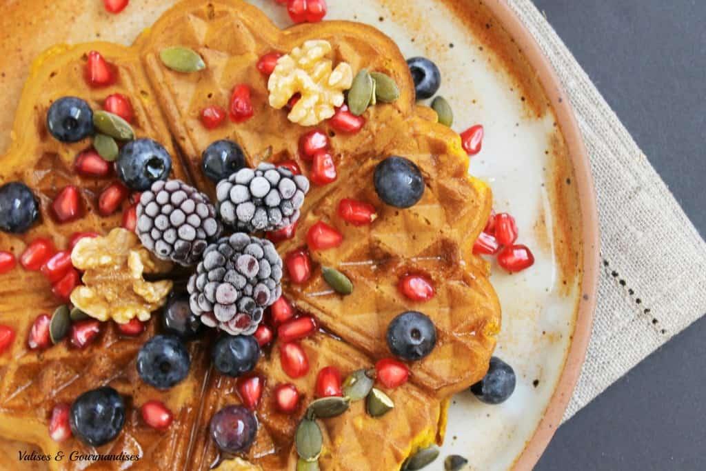 Vegan whole wheat pumpin waffles