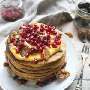 Vegan pumpkin pancakes with whole spelt - Valises & Gourmandises
