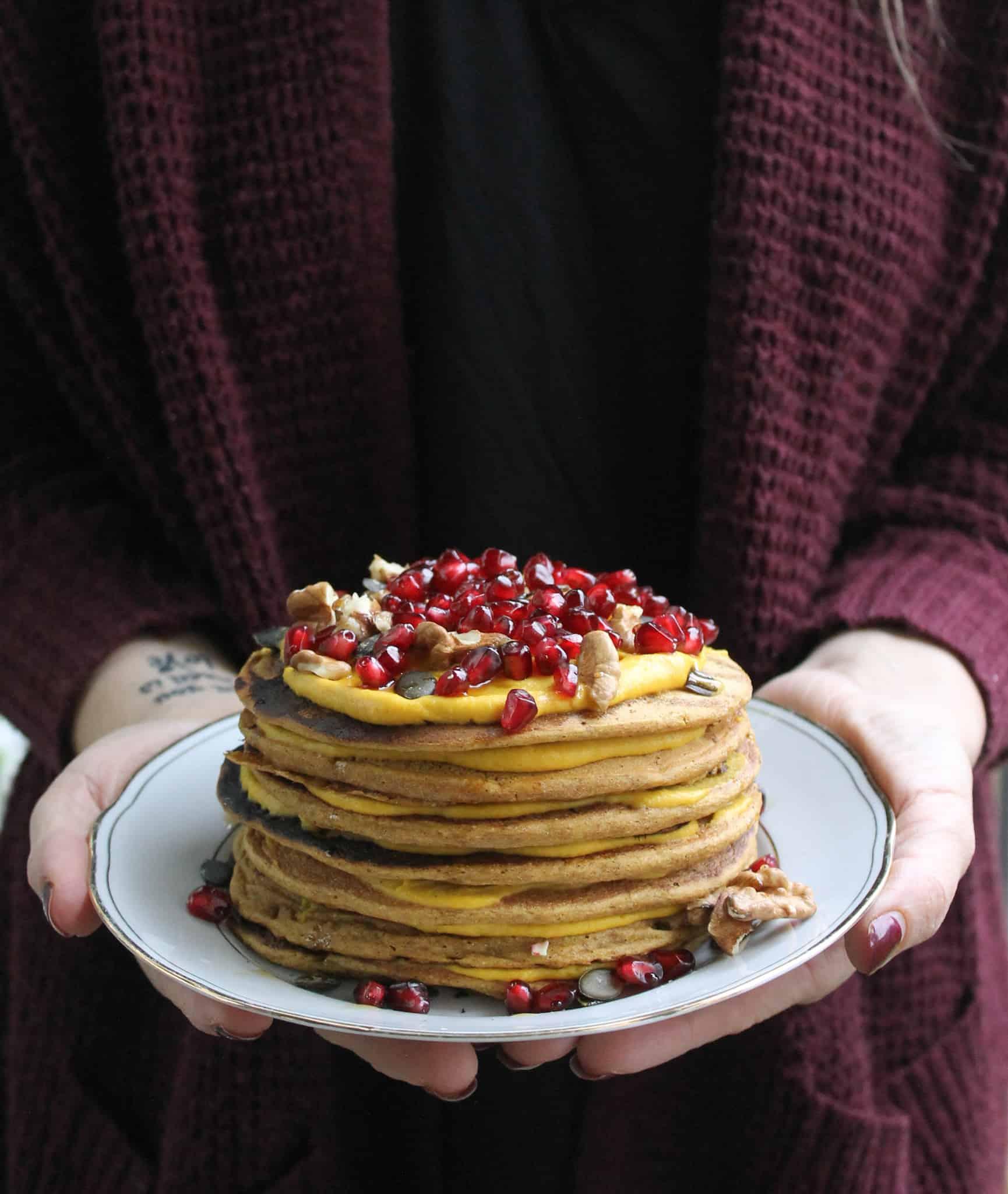 Vegan pumpkin spelt pancakes - Valises & Gourmandises