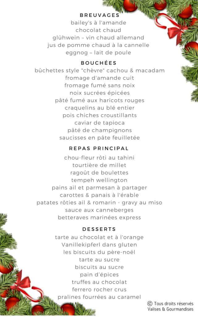menu du eBook Mon Noël végane