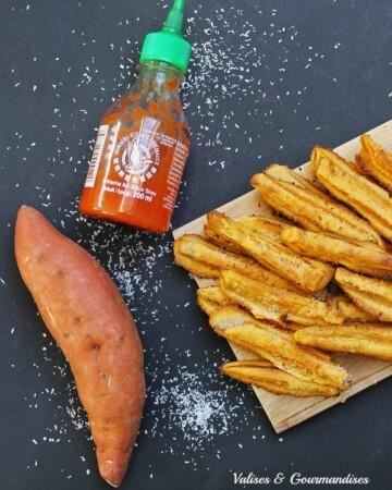 Frites de patate douce tempura sriracha-noix de coco