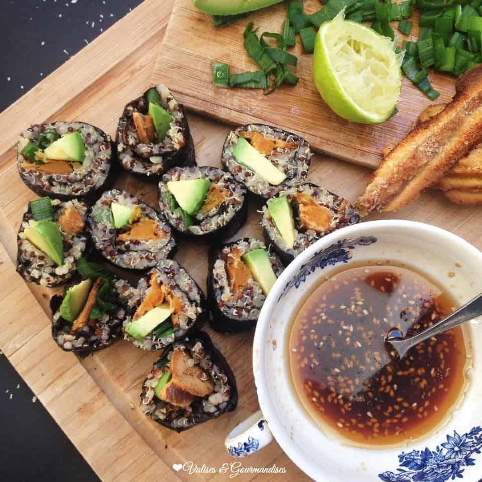 Sushis végétalien à la patate douce épicée et au quinoa