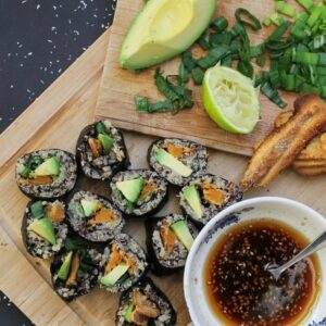 Vegan sweet potato quinoa sushi
