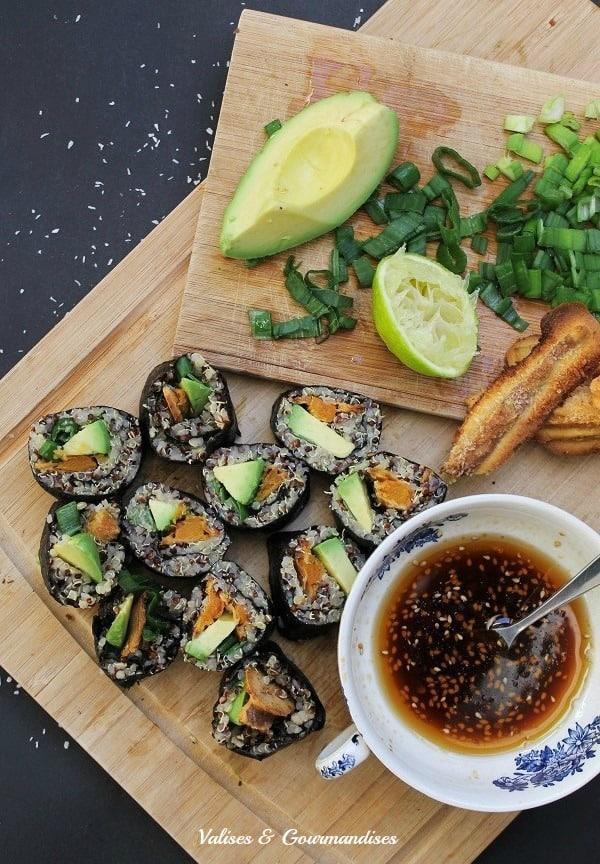 Sushi végétaliens à la patate douce et au quinoa