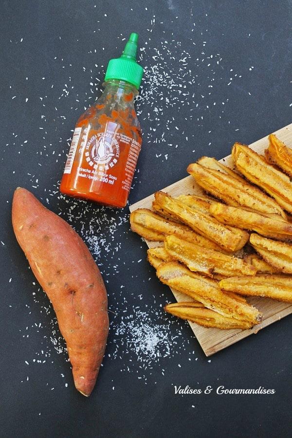 Frites de patate douce tempura sriracha et noix de coco