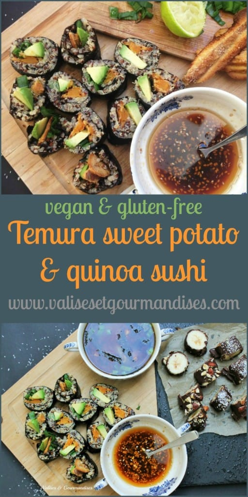 These spicy tempura sweet potato sushi feature quinoa instead of rice. They're a delicious alternative to fish sushi rolls!