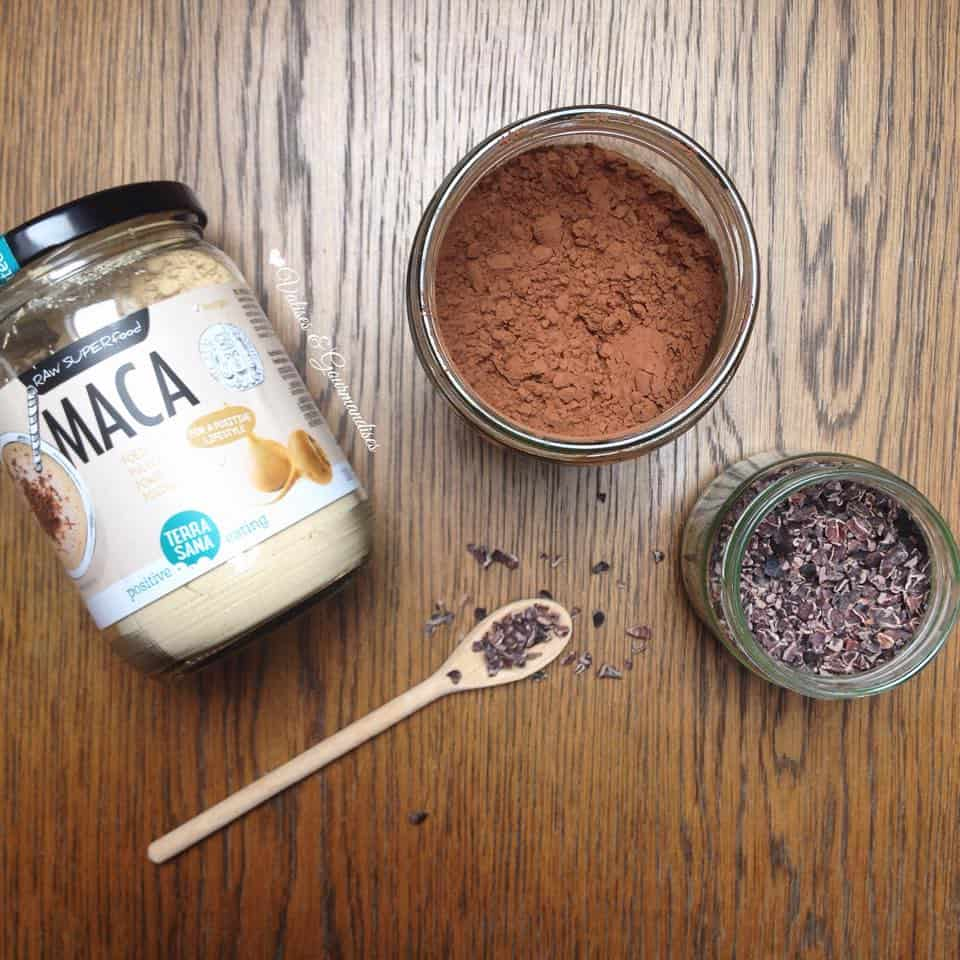 raw maca, cacao powder and cacao nibs