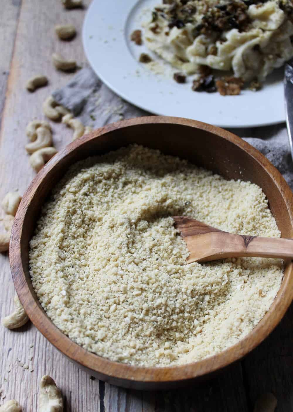 Raw cashew parmesan, high in B12