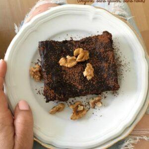 Brownies végétaliens sans farine, 3 ingrédients - Sans gluten, ni noix
