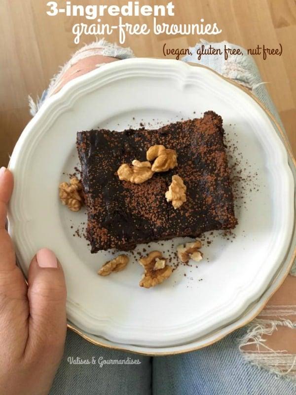 vegan grain-free brownies - 3 ingredients, gluten & nut-free!