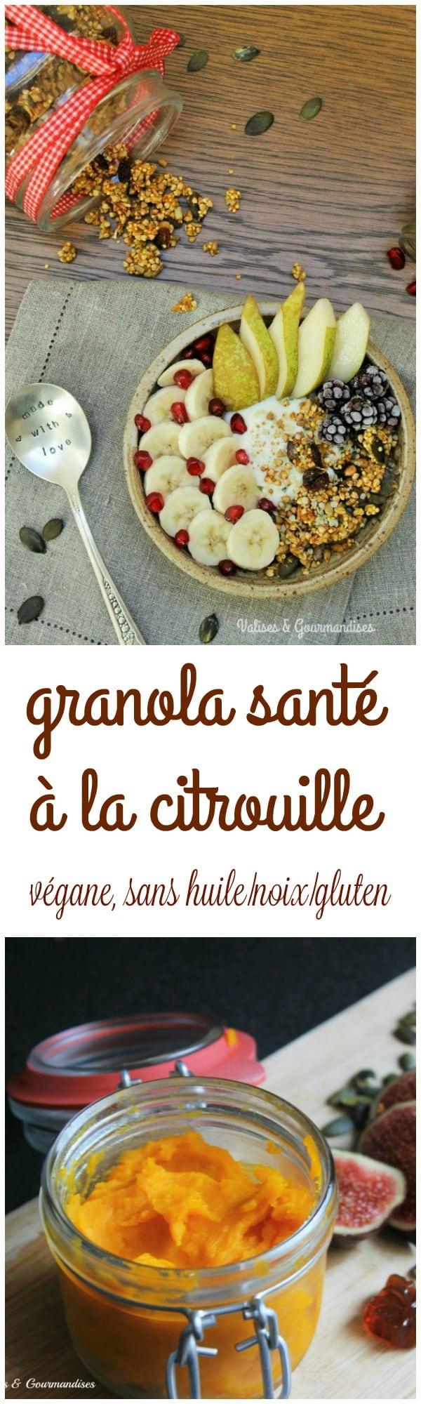 Granola à la citrouille - végane, sans huile et sans noix - Valises & Gourmandises