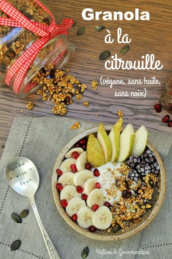 Granola à la citrouille - végane, sans huile, sans noix - Valises & Gourmandises