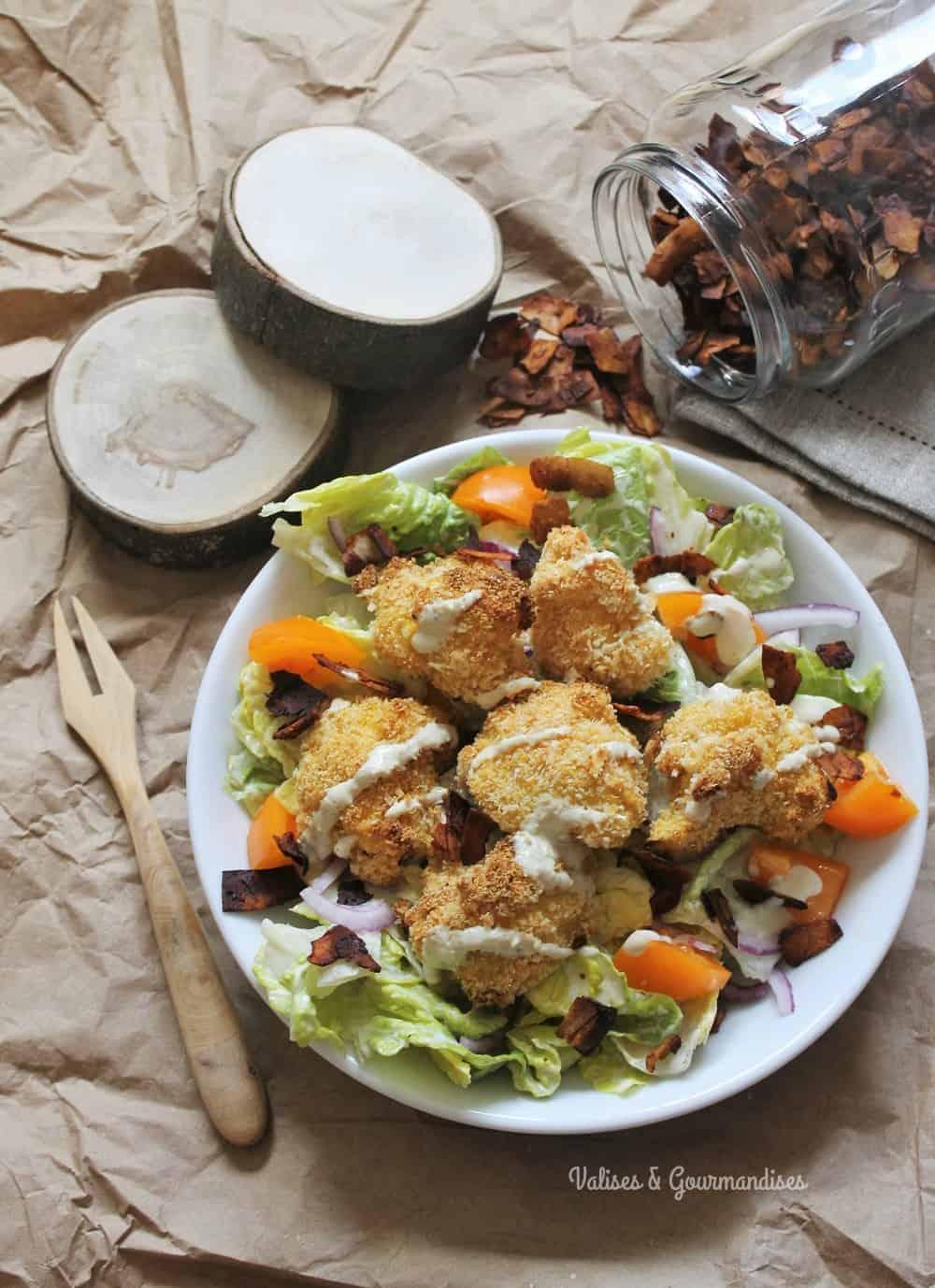 salade césar végétalienne au chou-fleur pané - Valises & Gourmandises