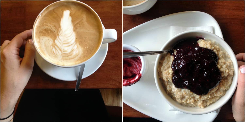 Vegan pumpkin latte and porridge in Galway, Ireland