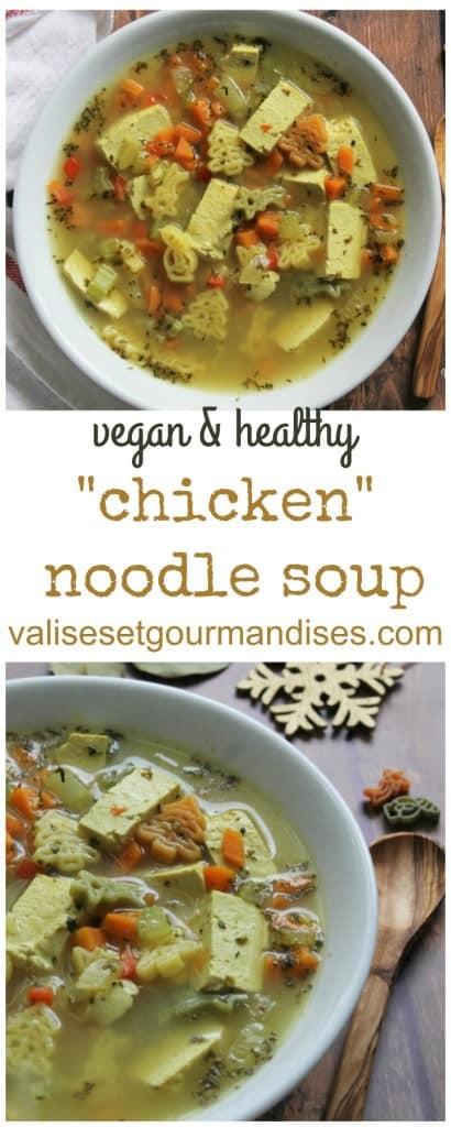 Tofu chicken noodle soup - vegan, easy, healthy, cheap