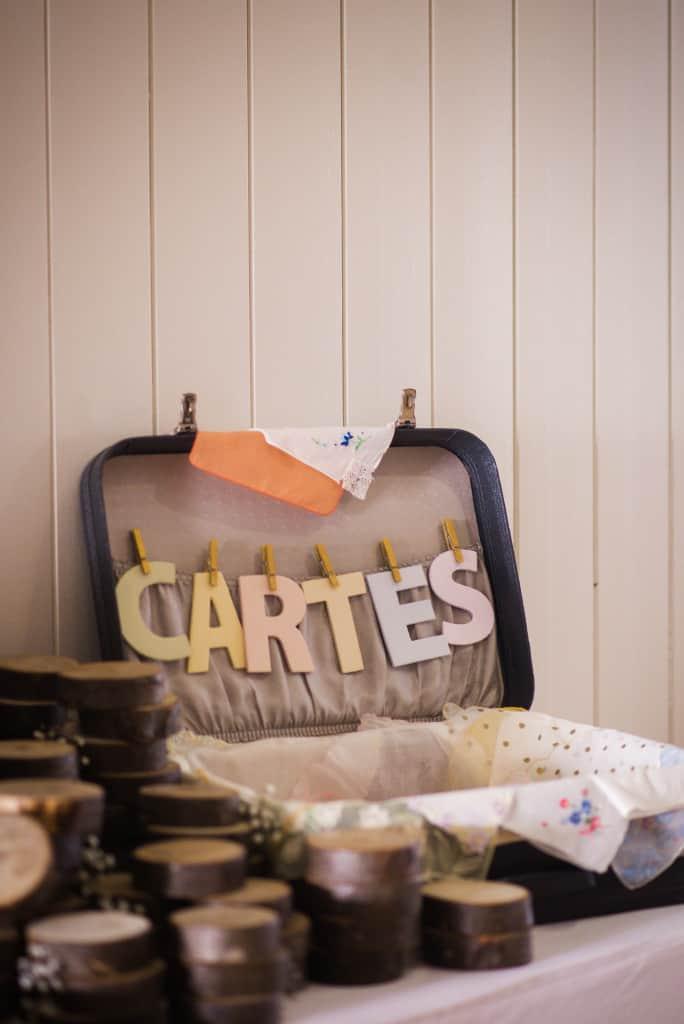 Valise vintage pour recueillir les cartes, Mon mariage végane