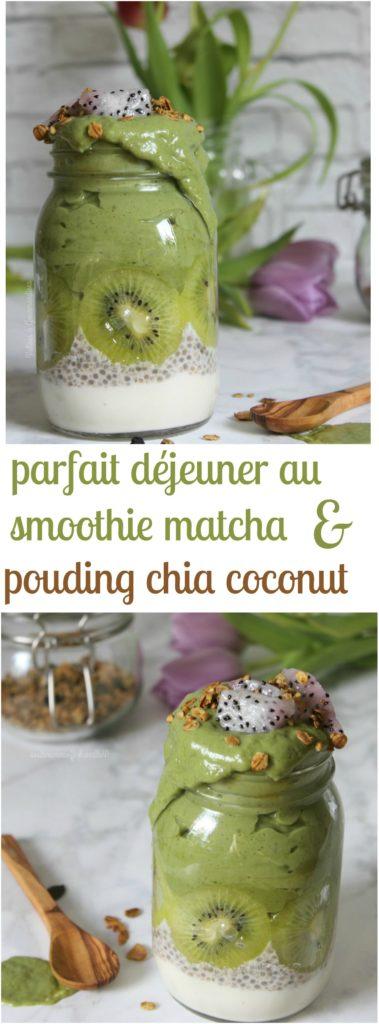 Smoothie au matcha avec pouding de chia au lait de coco et yogourt végane