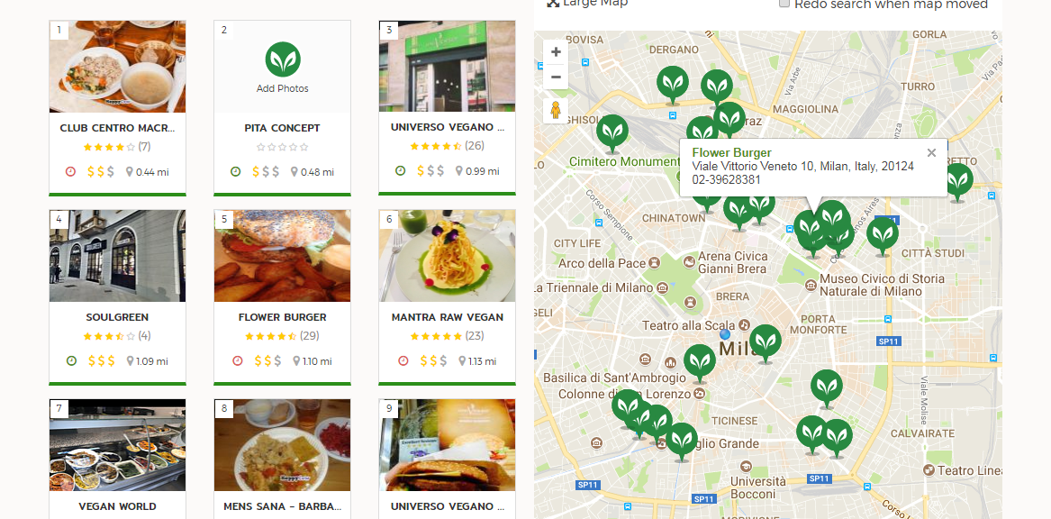 Carte des restaurants véganes de Milan, Happy Cow