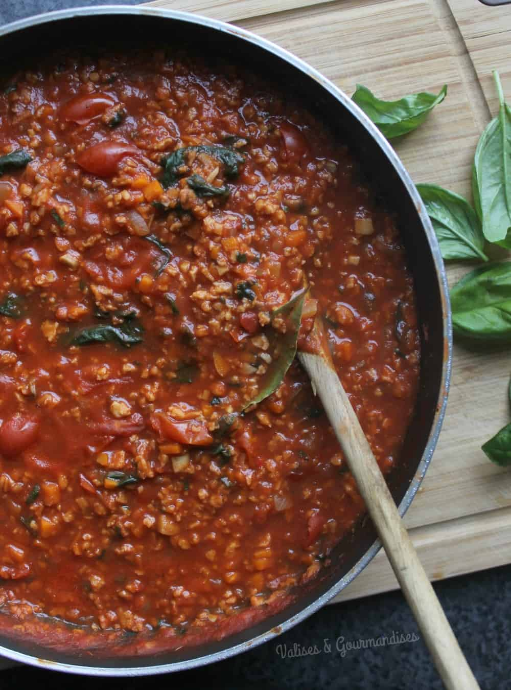 Delicious vegetarian bolognaise made with textured protein texture