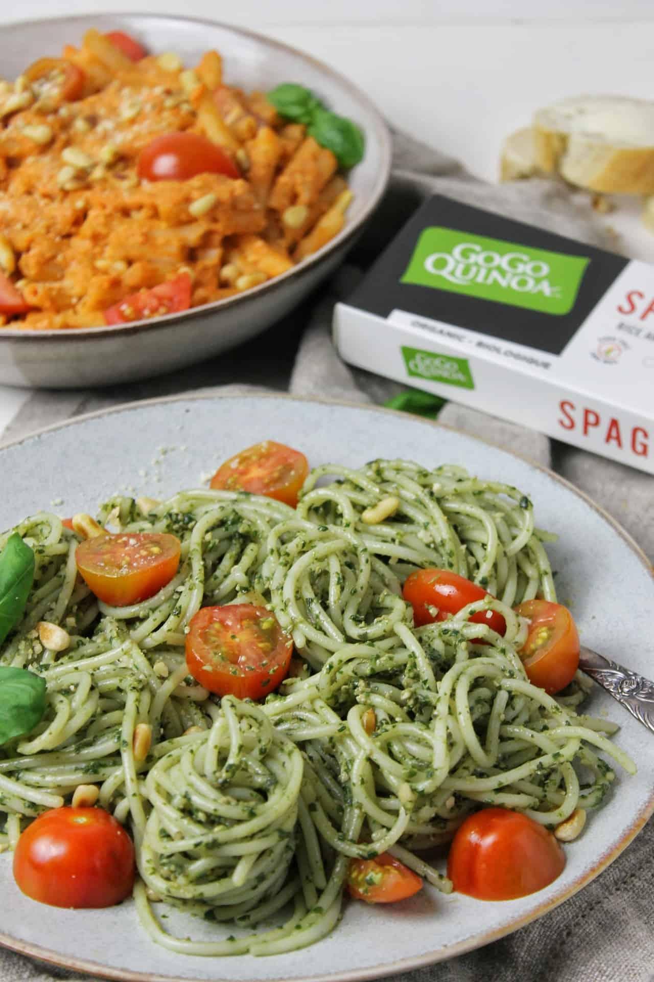 Spaghetti sans gluten au pesto vegan