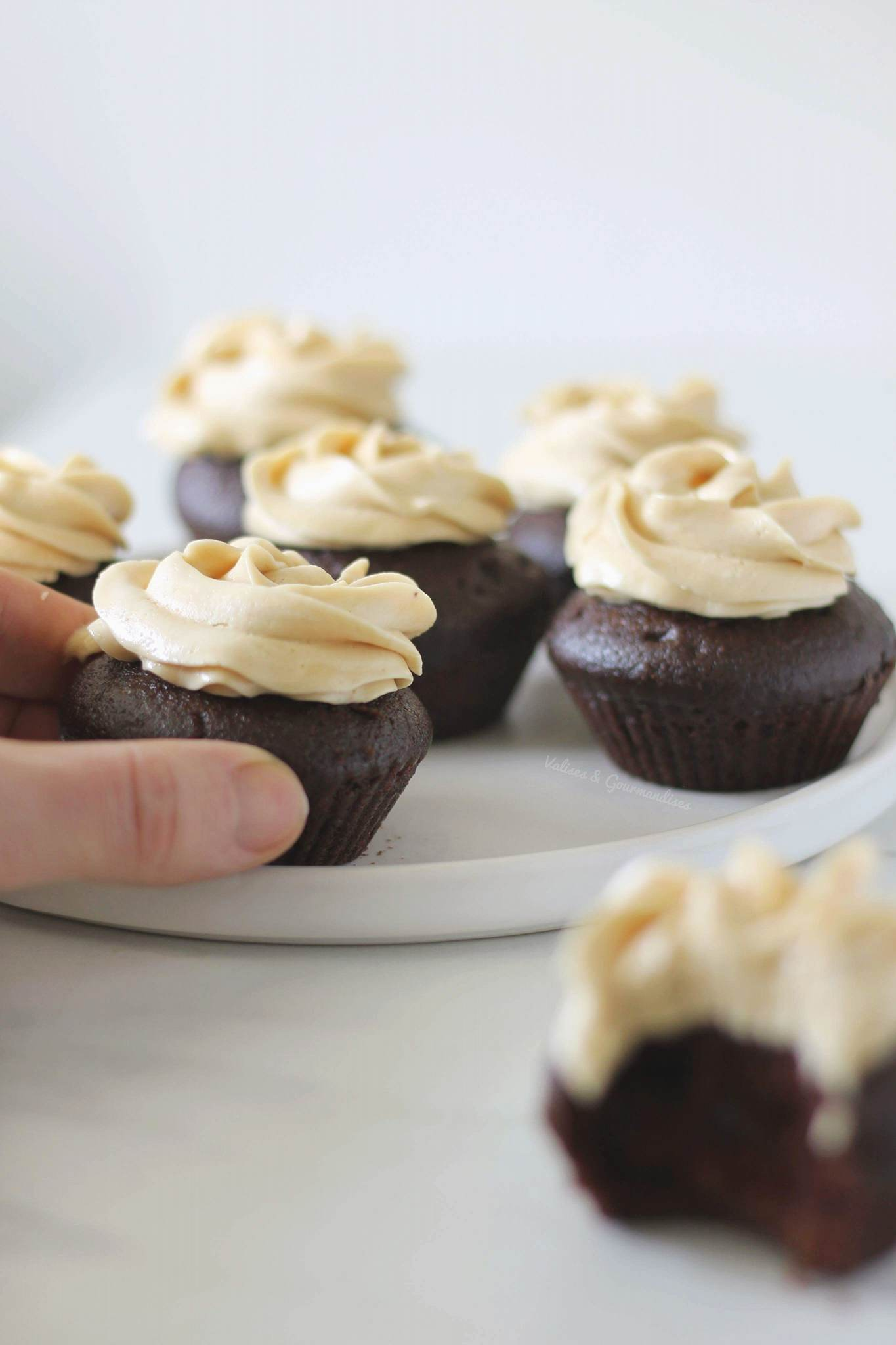 Vegan chocolate cupcakes with a peanut butter icing